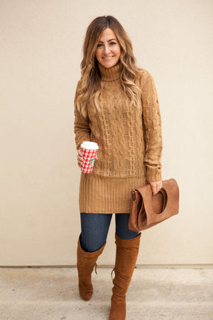 NICOLE TURTLE NECK SWEATER - CAMEL