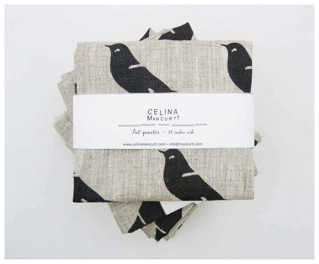Black bird Linen- Fat Quarter-fabric-celina mancurti