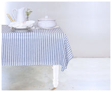 Blue Stripes Linen Tablecloth-tablecloth-celina mancurti