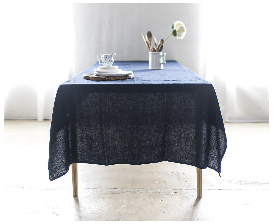 Bohemian Tablecloth   Navy Blue Linen Tablecloth Celina Mancurti