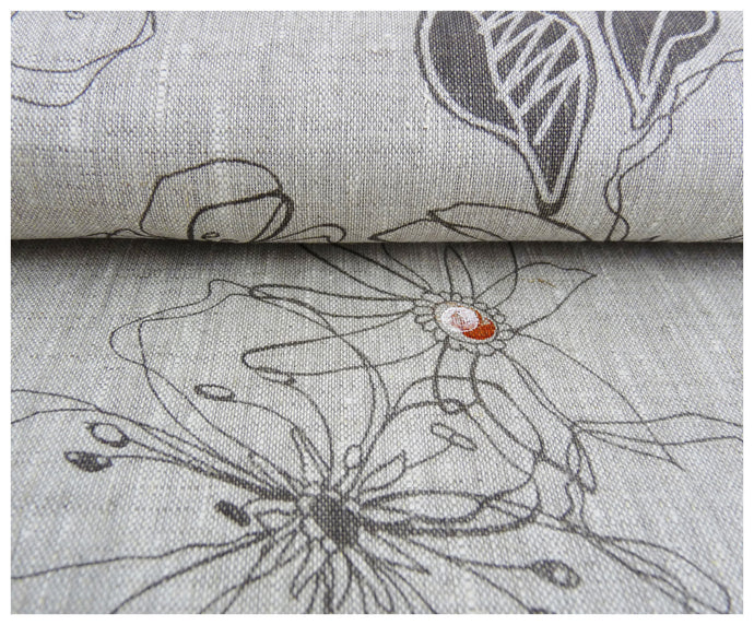 Gray Areco Design- Linen by the yard-fabric-celina mancurti