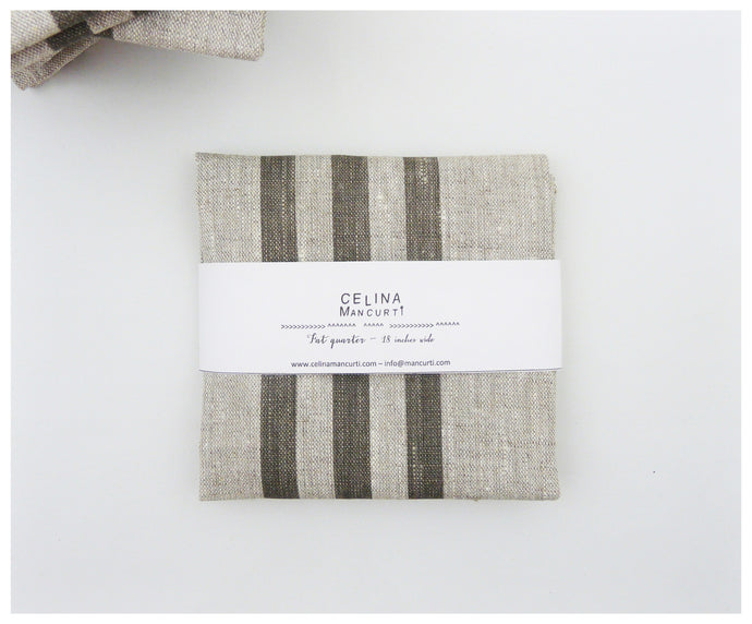 Gray Stripes Linen- Fat Quarter-fabric-celina mancurti
