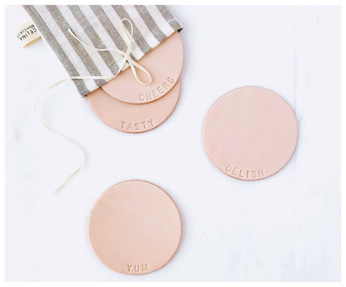 Leather Coasters- Delish-coasters-celina mancurti