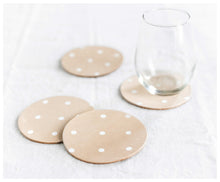 Leather Coasters- white dots Set of 4-coasters-celina mancurti