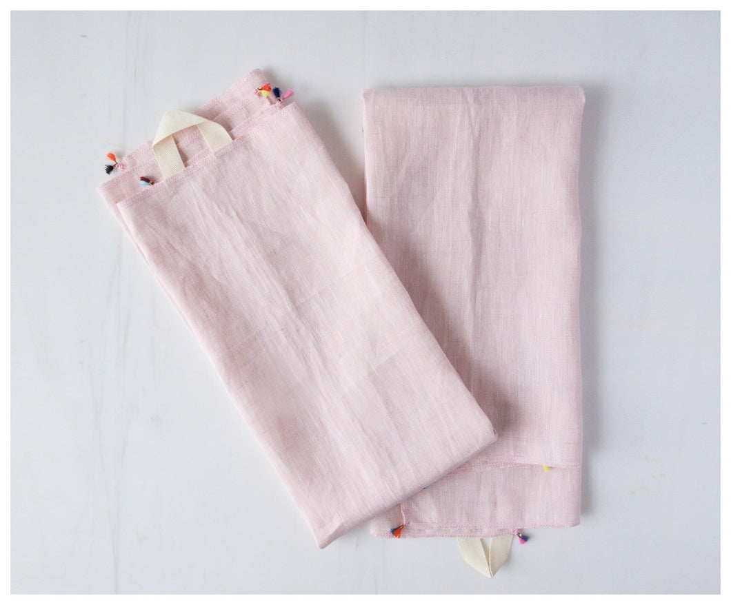 Linen Tea Towel (Set of 2) -Light Pink-tea towel-celina mancurti