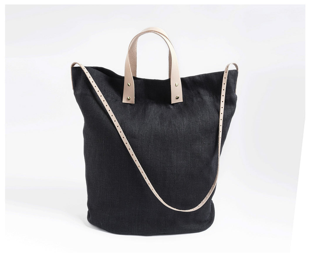 Linen Tote with Leather Accents-bag-celina mancurti