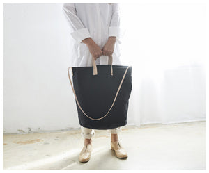 Linen Tote with Leather Accents- Black-bag-celina mancurti