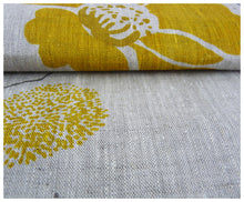 Mustard Amapola Design- Linen by the Yard-fabric-celina mancurti