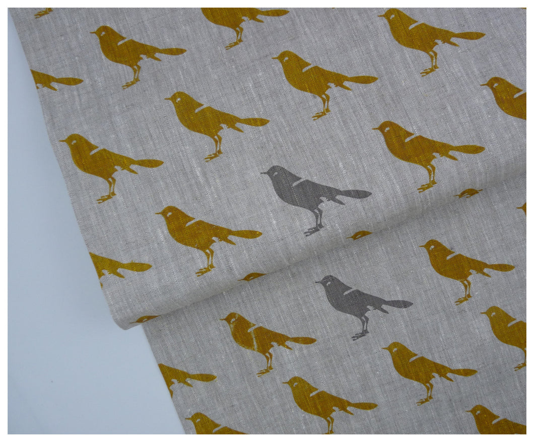 Mustard Bird- Linen by the Yard-fabric-celina mancurti