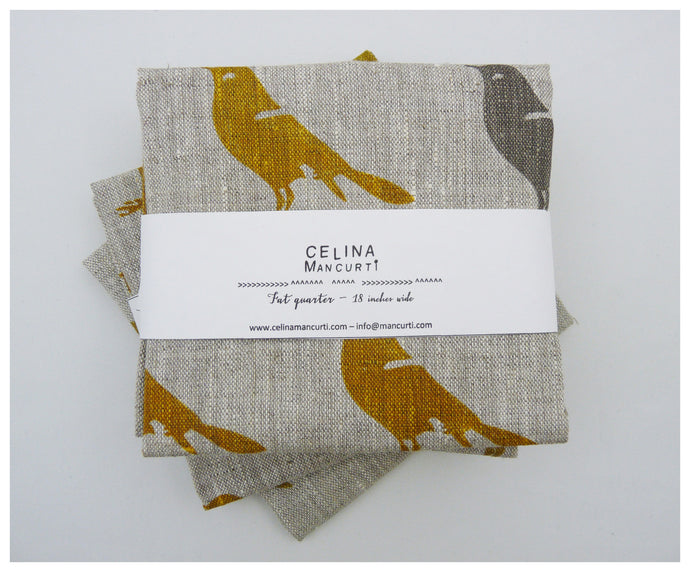 Mustard Bird Linen- Fat Quarter-fabric-celina mancurti