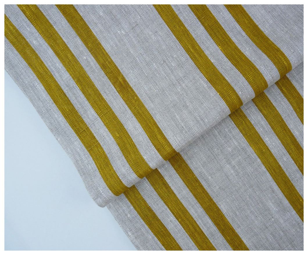 Mustard Stripes- Linen by the yard-fabric-celina mancurti