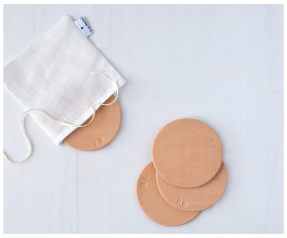 Personalized Leather Coasters-coasters-celina mancurti