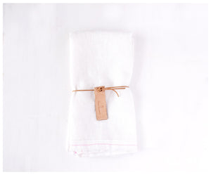 White Linen Napkin- Neon pink stitching ( Set of 2)