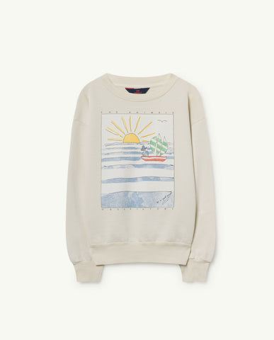The Animals Observatory TAO Bear Sweatshirt - White Landscape