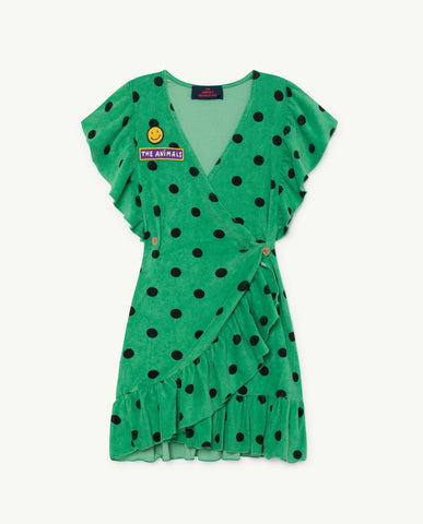 The Animals Observatory TAO Whale Dress - Green Polka Dot