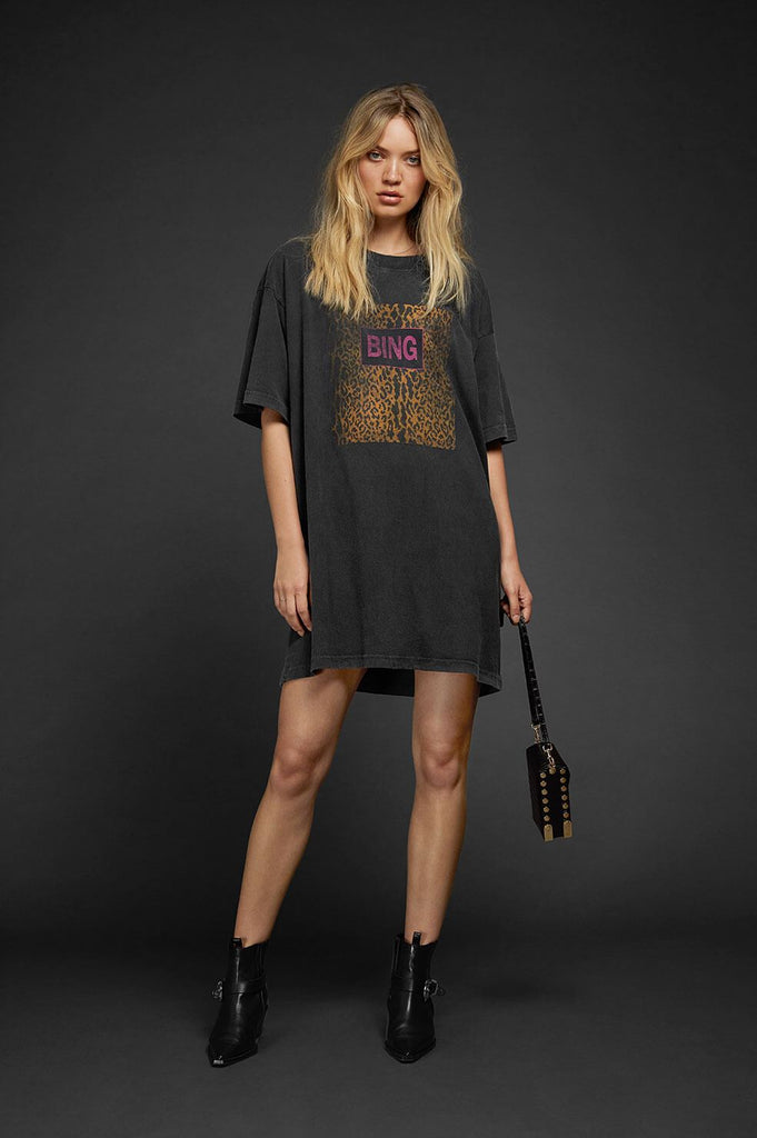 Anine Bing HARLEY TEE DRESS IN CHARCOAL