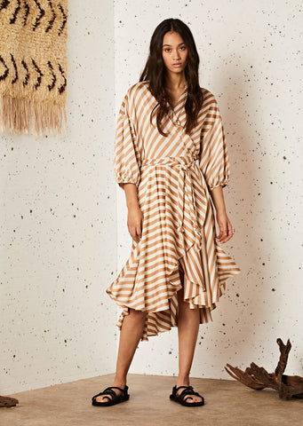 Ghospell Grain Midi Wrap Dress