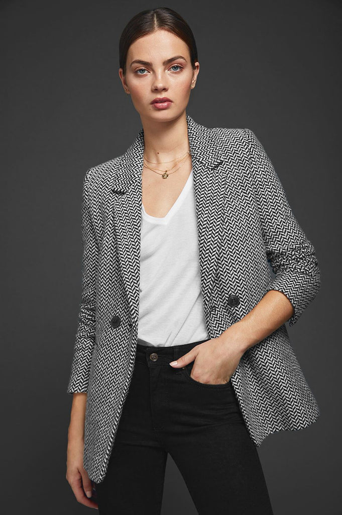 Anine Bing Fishbone Blazer - Black and Off white