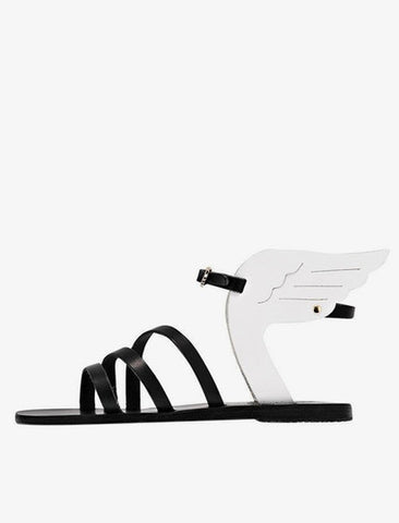 [Ancient Greek Sandals] Ikaria Flat Sandal - Black/White