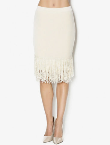 Endless Rose Ivory Knit Fringe Pencil Skirt