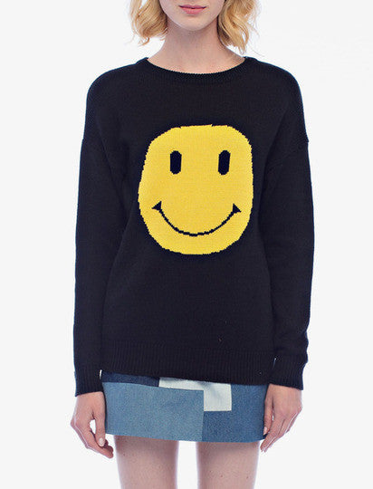 English Factory Smile Black Knit Sweater