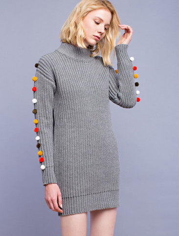 English Factory PomPom Sweater Dress
