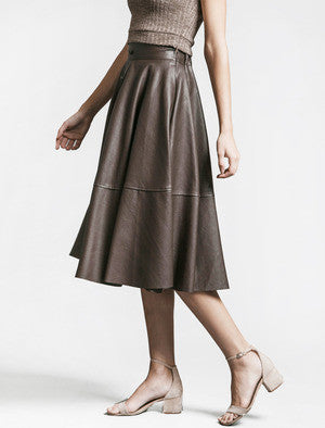 JOA Brown Pleated Midi Skirt