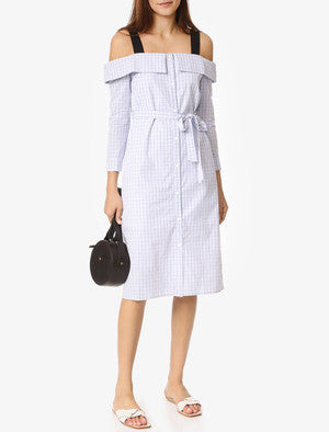 English Factory Plaid Off Shoulder Dress