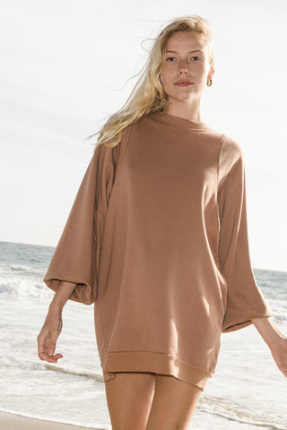 Ragdoll SUPER OVERSIZED PUFF SLEEVE DRESS Toffee