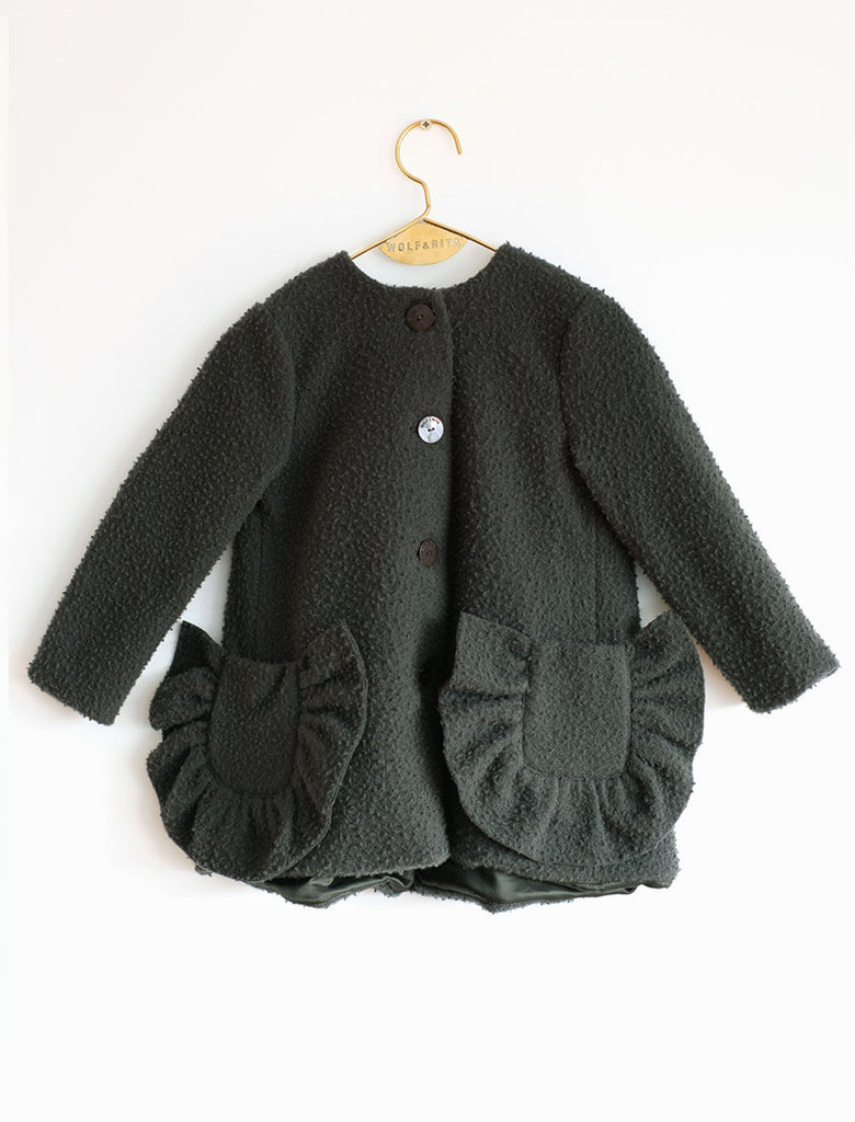 Wolf & Rita Adriana Ruffle Wool Jacket - Dark Green