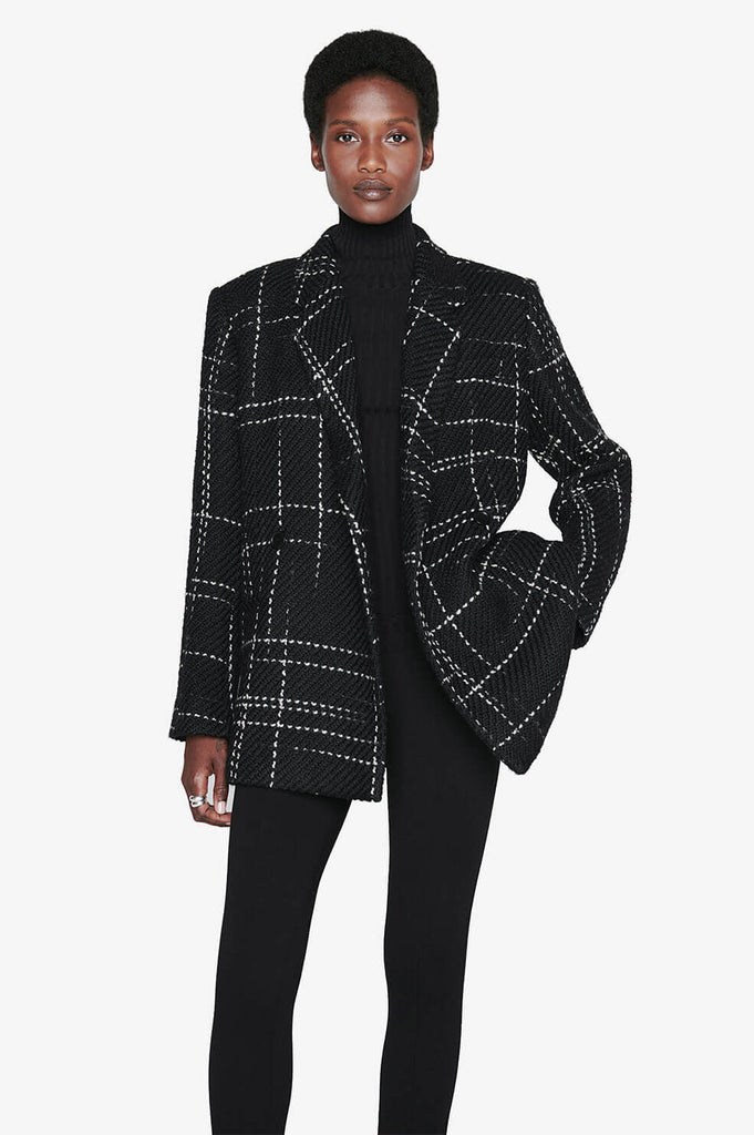Anine Bing KAIA BLAZER IN BLACK PLAID