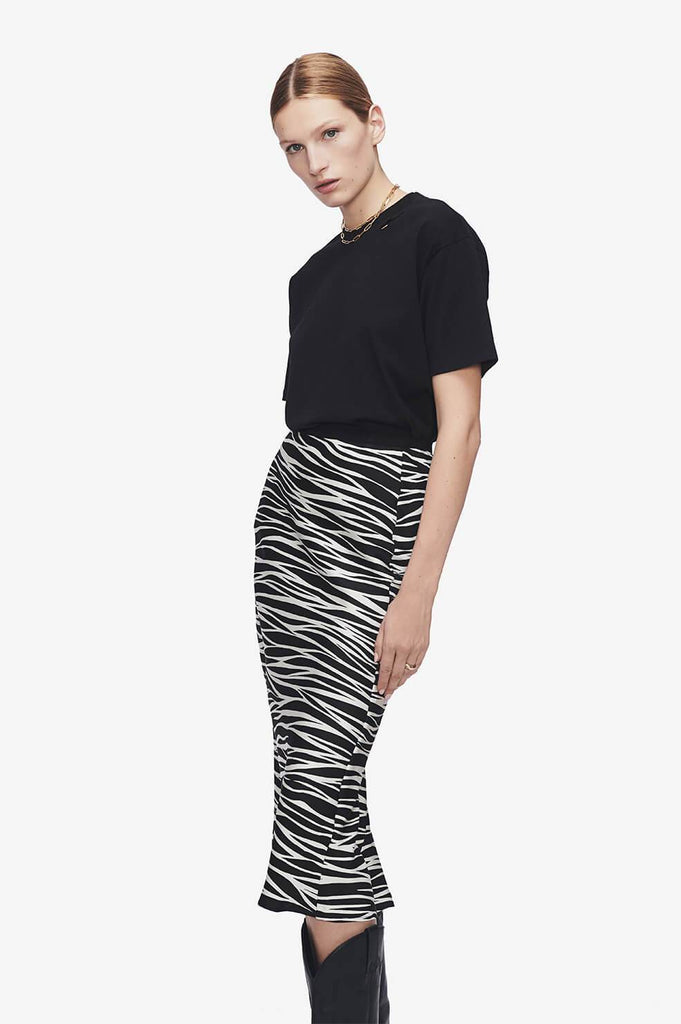 Anine Bing BAR SILK SKIRT IN CREAM ZEBRA