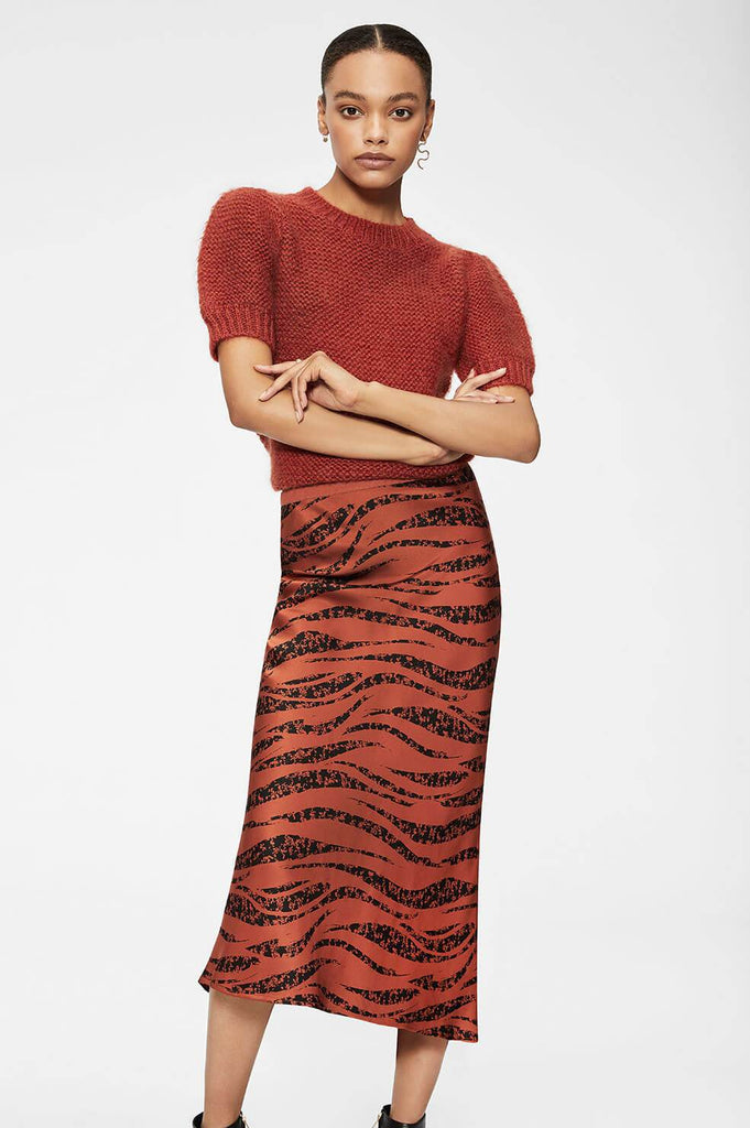 Anine Bing BAR SILK SKIRT - RUST ZEBRA