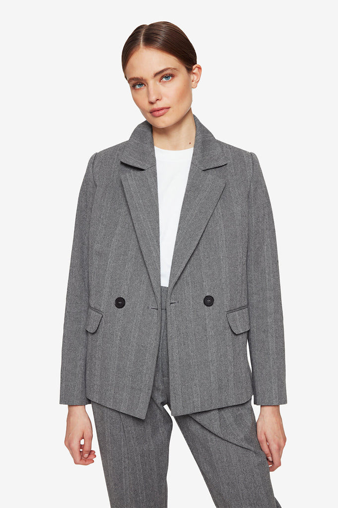 Anine Bing BECKY BLAZER IN GREY FISHBONE