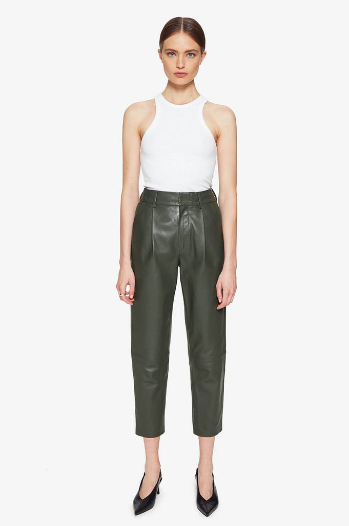 Anine Bing BECKY TROUSER IN GREEN LEATHER