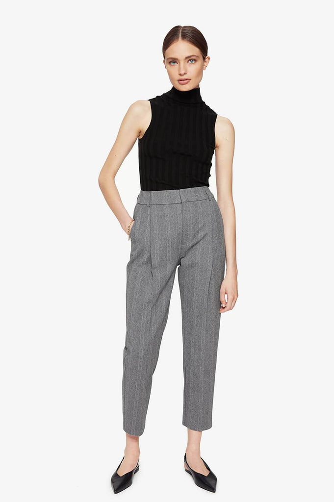 Anine Bing BECKY TROUSER IN GREY FISHBONE