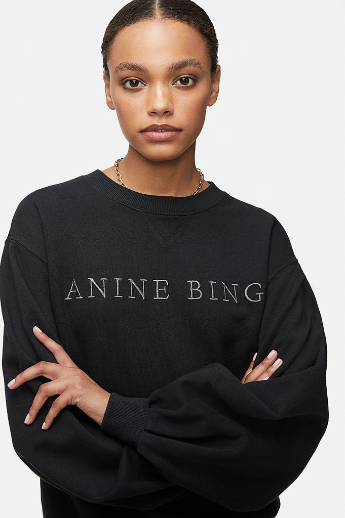 Anine Bing ESME SWEATSHIRT IN WASHED BLACK