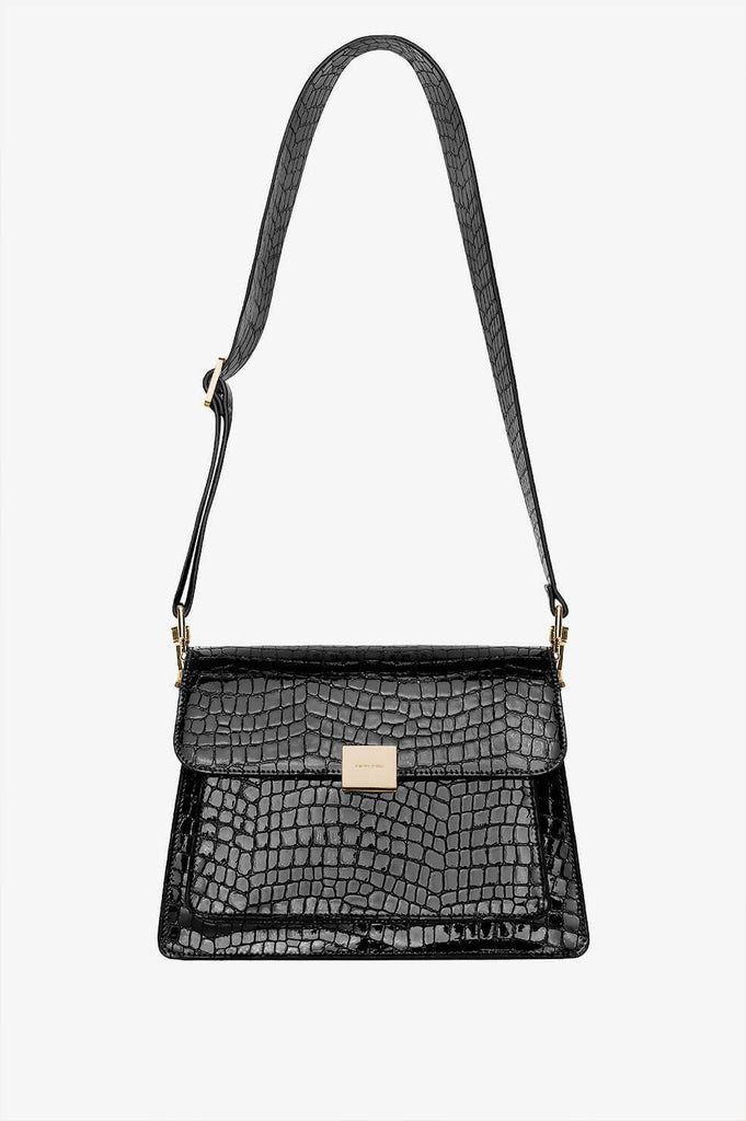Anine Bing FELIX BAG IN BLACK CROCO