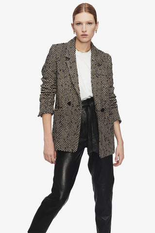 Anine Bing FISHBONE BLAZER IN CREAM AND BLACK