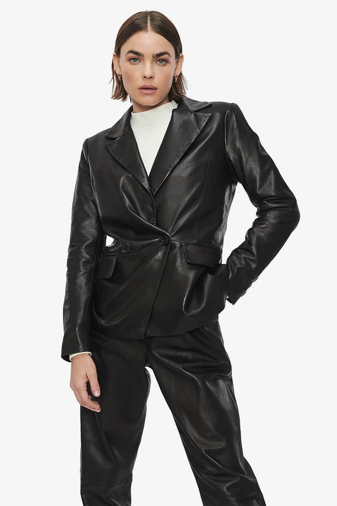 Anine Bing GRACE BLAZER IN BLACK LEATHER