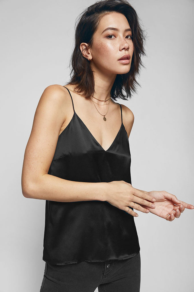Anine Bing GWYNETH SILK CAMISOLE IN BLACK