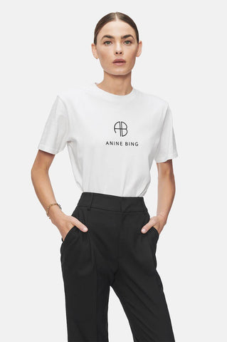 Anine Bing HUDSON MONOGRAM TEE IN OPTIC WHITE