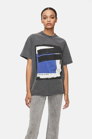 Anine Bing LILI PAINTING TEE IN WASHED BLACK