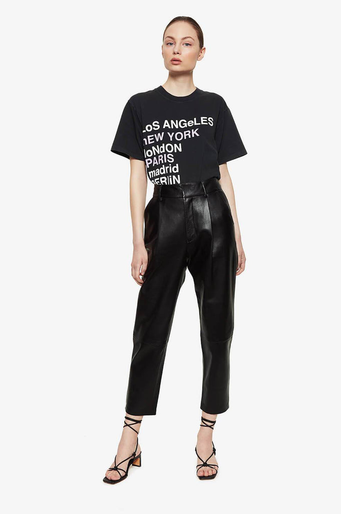 Anine Bing LILI TEE CITY LOVE IN WASHED BLACK