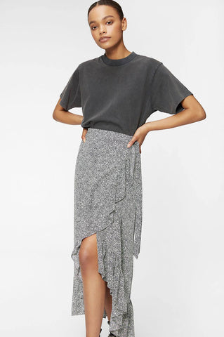 Anine Bing LUCKY WRAP SKIRT - BLACK AND WHITE
