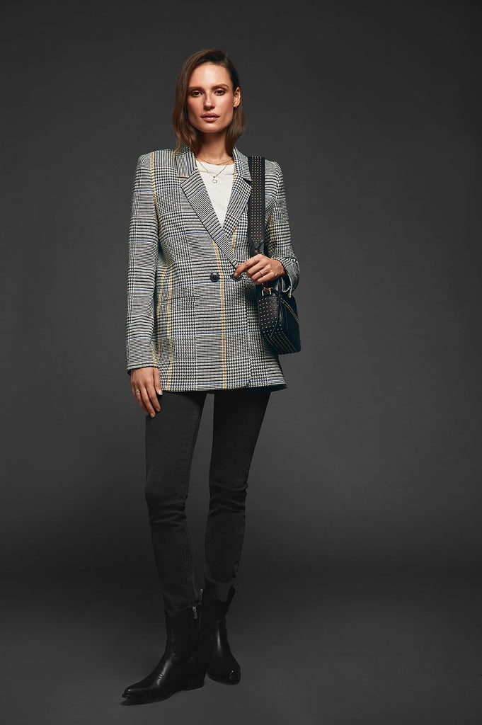 Anine Bing MADELEINE BLAZER IN BLUE AND MARIGOLD