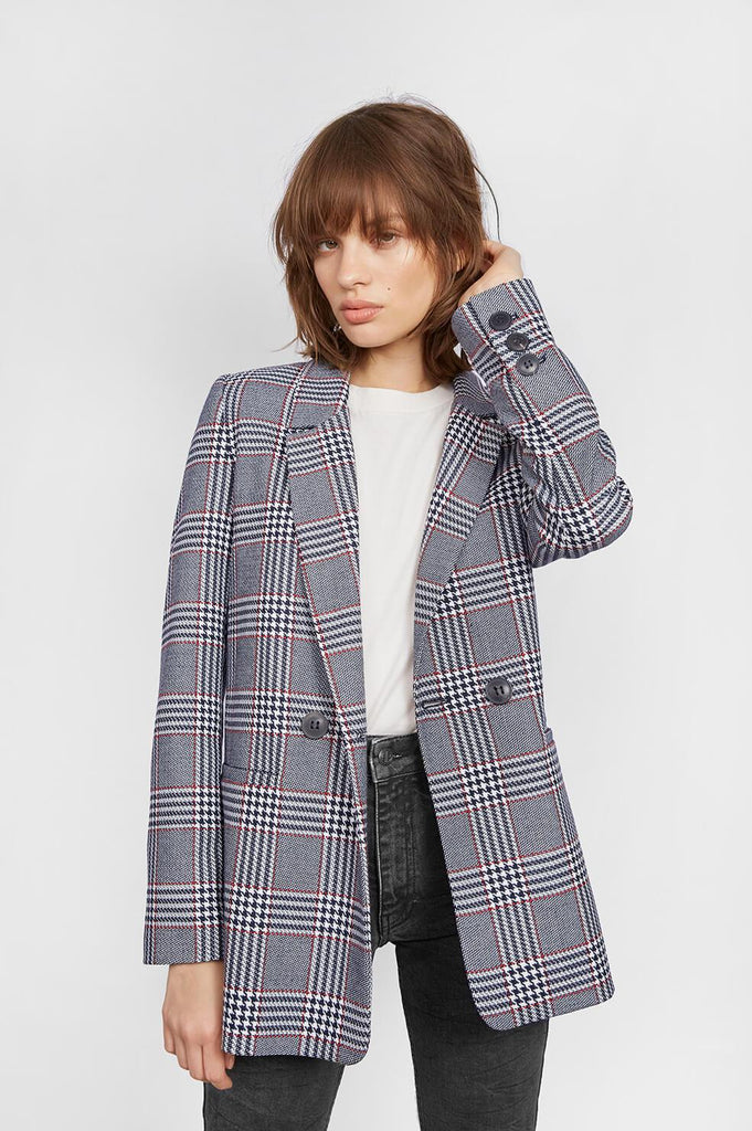 Anine Bing MADELEINE BLAZER IN RED AND BLUE PLAID