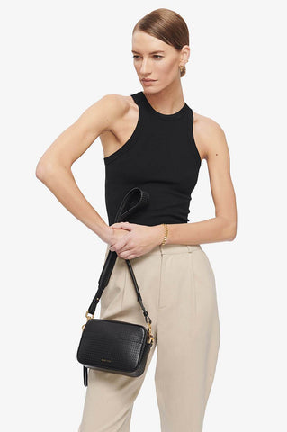 Anine Bing MINI ALICE BAG IN PERFORATED BLACK