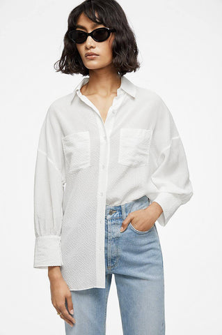 Anine Bing MONICA BLOUSE IN WHITE