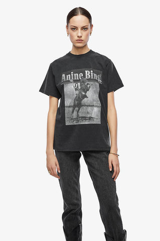 Anine Bing LILI TEE WILD AND FREE IN WASHED BLACK